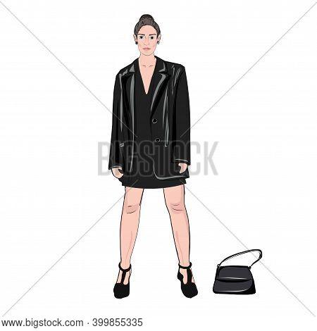 Girl Model. Posing. Fashion Show. Classic Black Tailcoat Jacket. Velvet, Silk. Bright Festive Image.