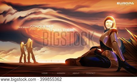 Vector Illustration Featuring The Mother And Daughter Are Standing In The Observatory Inside The Col