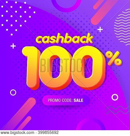 Modern Banner Design Template With 100% Cash Back Offer. Vector Illustration For Promotion Discount