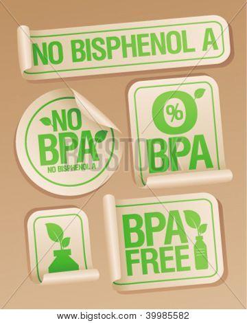 Bisphenol A (BPA) free products stickers set.