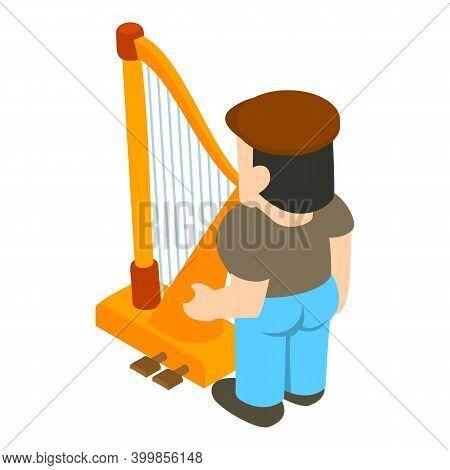 Harper Musician Icon. Isometric Illustration Of Harper Musician Vector Icon For Web