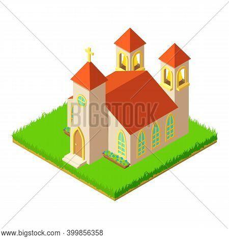 Catholic Church Icon. Isometric Illustration Of Catholic Church Vector Icon For Web