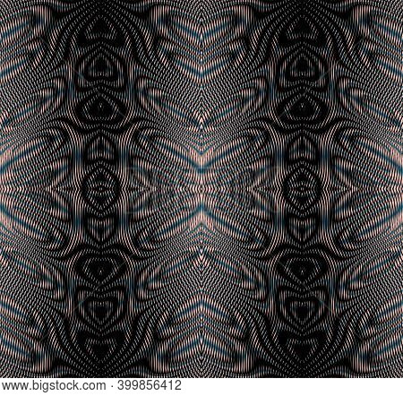Ornamental Horizontal Abstract Vector Texture Of Wave Lines In Trendy Grey Halftones With Moire Effe