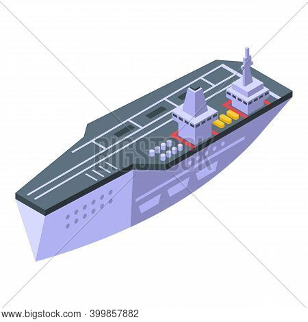 Top Aircraft Carrier Icon. Isometric Of Top Aircraft Carrier Vector Icon For Web Design Isolated On
