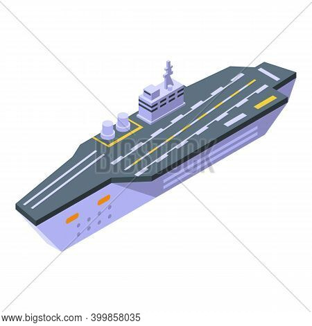 Helicopter Aircraft Carrier Icon. Isometric Of Helicopter Aircraft Carrier Vector Icon For Web Desig
