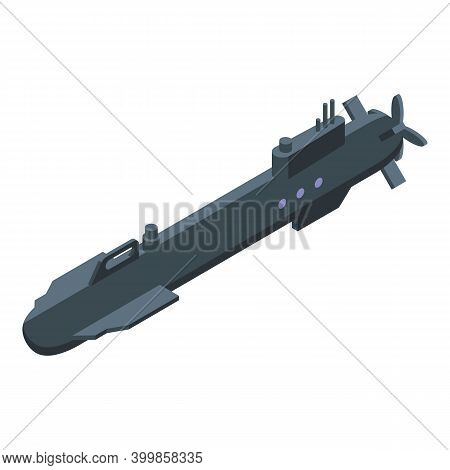 Army Submarine Icon. Isometric Of Army Submarine Vector Icon For Web Design Isolated On White Backgr