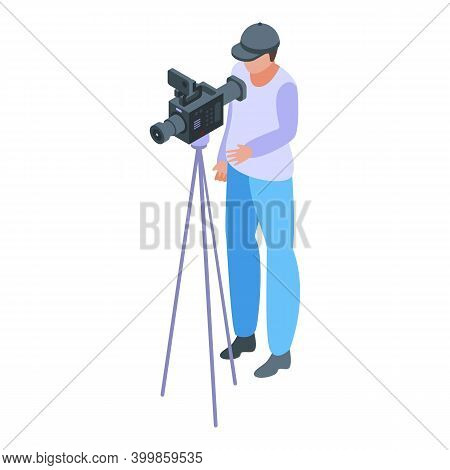 Reportage Video Cameraman Icon. Isometric Of Reportage Video Cameraman Vector Icon For Web Design Is