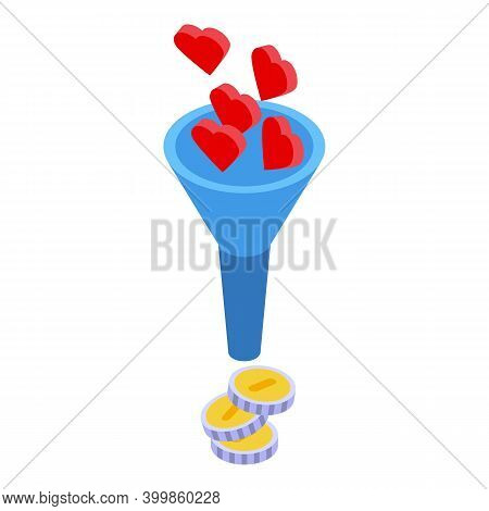 Monetization Funnel Icon. Isometric Of Monetization Funnel Vector Icon For Web Design Isolated On Wh