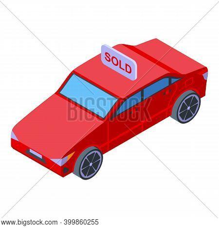 Monetization Car Sold Icon. Isometric Of Monetization Car Sold Vector Icon For Web Design Isolated O