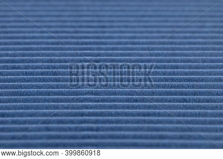 Background Made Of Blue Corrugated Cardboard With Horizontal Stripes, Shallow Depth Of Field.