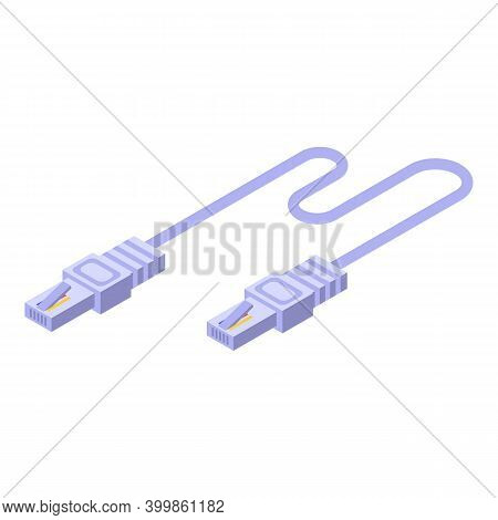 Internet Lan Cable Icon. Isometric Of Internet Lan Cable Vector Icon For Web Design Isolated On Whit