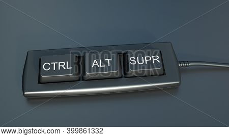 3D rendering of a keyboard with the keys control, alt and supr, which is delete in Spanish and French keyboards