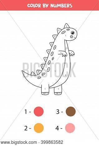 Color Cute Cartoon Dinosaur By Numbers. Counting Game.