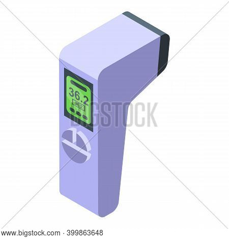 Pistol Digital Thermometer Icon. Isometric Of Pistol Digital Thermometer Vector Icon For Web Design