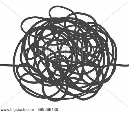 Unraveling Chaos Tangled. Psychotherapy Hand Drawn Concept. Messy Flat Line. Chaos Path