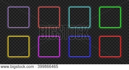Neon Rectangle. Glow Frame Border. Glossy Rectangle On Wall. Vector Neon Shape. Blue Light Lamp. 3d