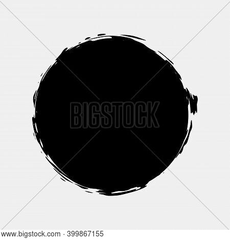 Circle Paint Grunge Splash. Vector Round Black Stain Set. Rough Ink Retro Stamp Clipart Isolated On