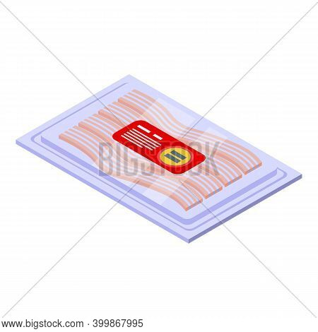 Bacon Pack Icon. Isometric Of Bacon Pack Vector Icon For Web Design Isolated On White Background