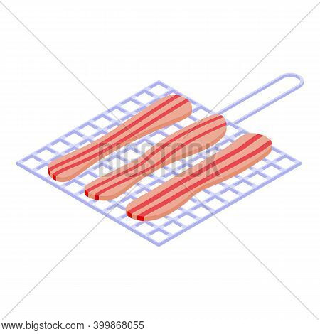 Grilled Bacon Icon. Isometric Of Grilled Bacon Vector Icon For Web Design Isolated On White Backgrou