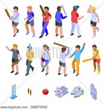 Kids Playing Cricket Icons Set. Isometric Set Of Kids Playing Cricket Vector Icons For Web Design Is