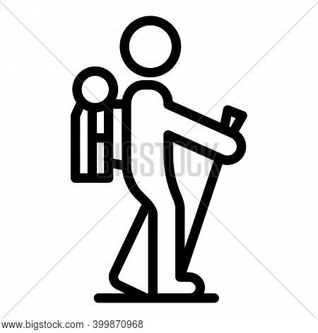Backpack Nordic Walking Icon. Outline Backpack Nordic Walking Vector Icon For Web Design Isolated On
