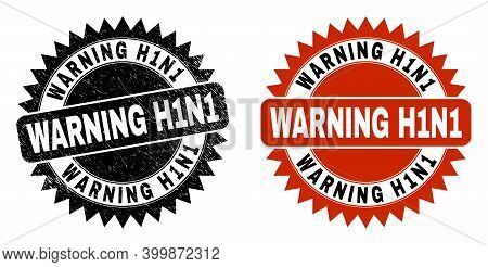 Black Rosette Warning H1n1 Seal. Flat Vector Grunge Seal With Warning H1n1 Text Inside Sharp Rosette