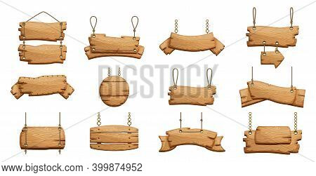 Wooden Banners. Blank Signboards With Chains Ropes. Can Be Used For Old Guideposts, Vintage Restaura