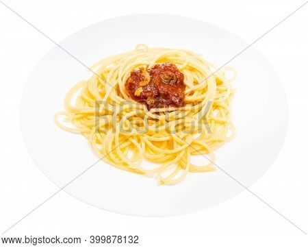 Served Spaghetti Alla Sorrentina On White Plate Isolated On White Background