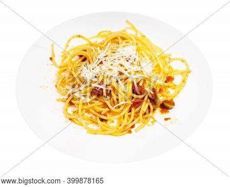 Mixed Spaghetti Alla Sorrentina On White Plate Isolated On White Background