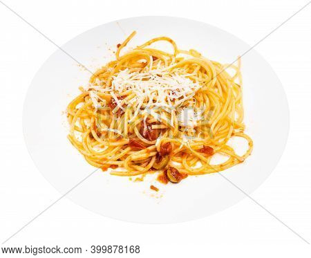 Portion Of Spaghetti Alla Sorrentina On White Plate Isolated On White Background