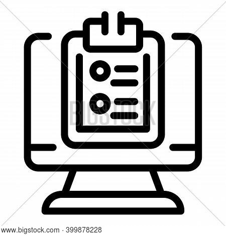 Online Job Application Icon. Outline Online Job Application Vector Icon For Web Design Isolated On W