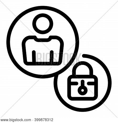 Locked Candidate Icon. Outline Locked Candidate Vector Icon For Web Design Isolated On White Backgro