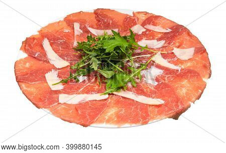 Served Carpaccio (thinly Sliced Raw Beef Fillet) Decorated By Parmesan, Arugula On White Plate Isola