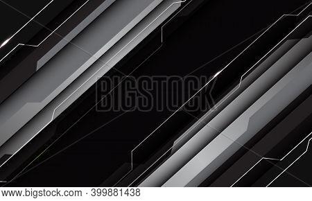 Abstract Silver Grey Black Metallic Geometric Technology Cyber Circuit Line Futuristic Slash Design