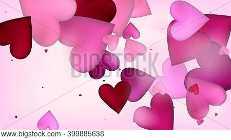 Red, Pink Hearts Vector Confetti. Valentines Day Tender Pattern. Beautiful Pink Scatter Valentines D