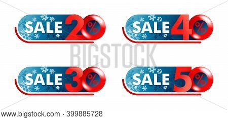 Winter Sale Sticker Set - 20, 30, 40, 50 Percents Off Red Badge With Different Percentage - Isolated