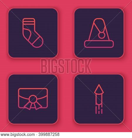 Set Line Christmas Stocking, Postcard, Santa Claus Hat And Firework Rocket. Blue Square Button. Vect