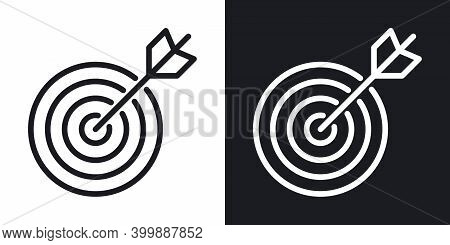 Business Goal, Target Or Aim Icon. Target With An Bow Arrow. Simple Two-tone Vector Illustration On