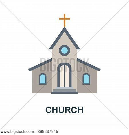 Church Flat Icon. Color Simple Element From Wedding Collection. Creative Church Icon For Web Design,
