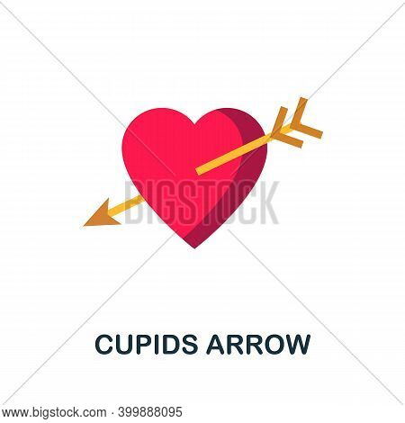 Cupids Arrow Flat Icon. Color Simple Element From Wedding Collection. Creative Cupids Arrow Icon For