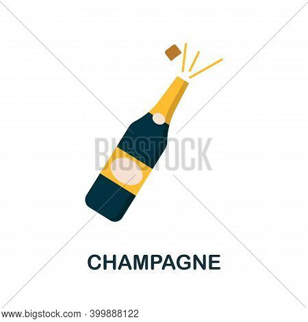 Champagne Flat Icon. Color Simple Element From Wedding Collection. Creative Champagne Icon For Web D
