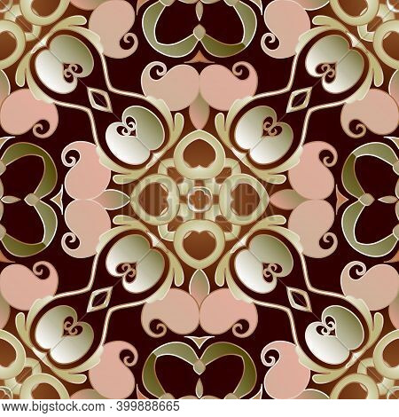 Paisley Seamless Pattern. Vintage Patterned Background. Vector Ethnic Style Paisley Flowers With Lea