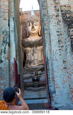 Sukhothai Thailand-03 August 2019:buddha Big Statue Of Name Phra Ajarn In Phra Montop, Wat Srichum