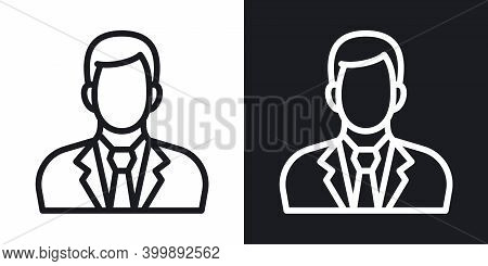 Businessman Or Business Man Icon. Man In Business Suit With Tie. Simple Two-tone Vector Illustration