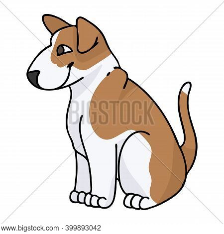 Cute Cartoon Bull Terrier Sitting Puppy Vector Clipart. Pedigree Kennel Doggie Breed For Kennel Club