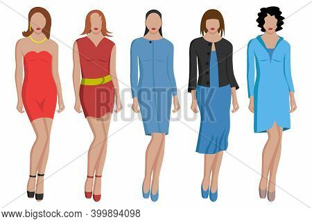 Women's Evening Dresses In Different Colors And Styles. Short And Long Dresses. Vector Illustration.