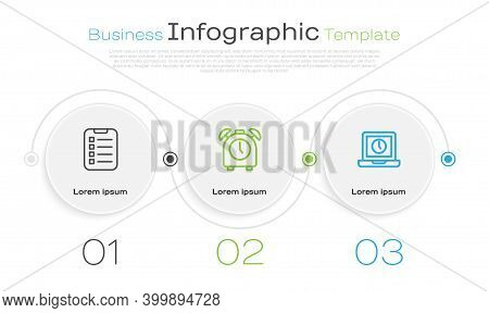 Set Line To Do List Or Planning, Alarm Clock And Laptop Time. Business Infographic Template. Vector