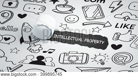 The Concept Of Business, Technology, The Internet And The Network. Intellectual Property 3d Illustra
