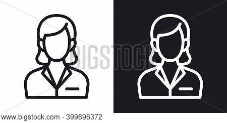 Business Woman Or Business Lady Icon. Woman In A Strict Business Suit. Simple Two-tone Vector Illust