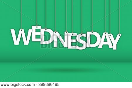 Wednesday. The Word Consists Of Letters Hanging On A Rope. Stock Vector Illustration